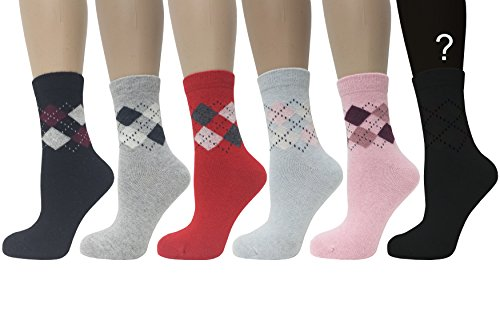 (Feinashi Women's Angora Wool Blend Socks with Mini Argyle Pattern )