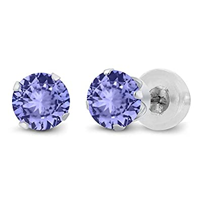 0.80 Ct Round Cut Genuine Tanzanite Solid 14K White Gold Stud Earrings 4.5mm