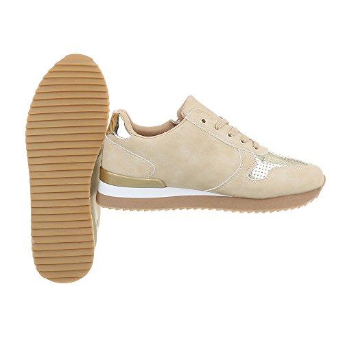 Beige piatto 1 Sneaker da Scarpe G Design low Ital donna Sneakers 86 qtpax8w4