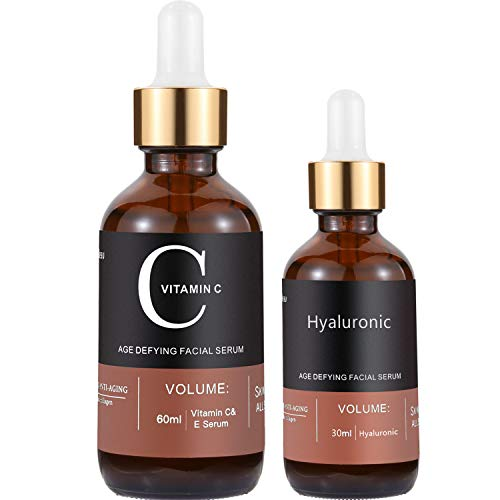 Vitamin C Serum For Face, MayBeau Set Of 2 Anti-aging Facial Serum(3 fl.oz) With Hyaluronic Acid Serum, Antioxidant Vitamin E Serum Vitamin Oil Aloe Serum Skin Care Set For Acne Scars, Wrinkle