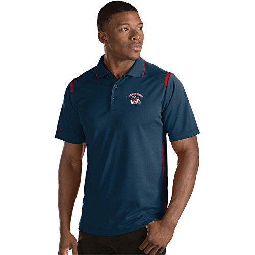ANTIGUA MEN'S FRESNO STATE BULLDOGS MERIT POLO SHIRT NAVY/RED (Antigua Red Classic Shirt)