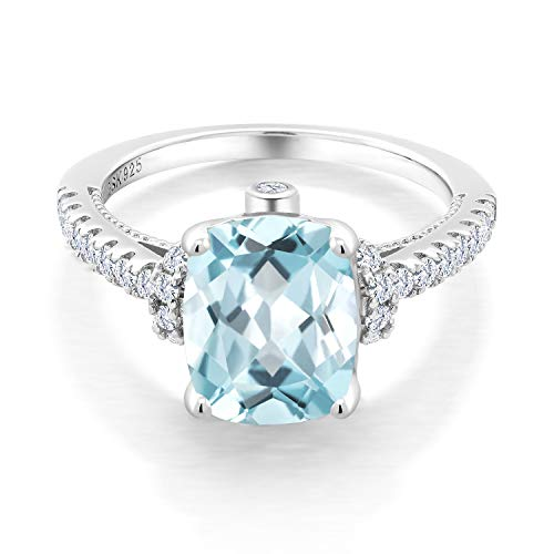 Gem Stone King 925 Sterling Silver Sky Blue Simulated Aquamarine and White Created Sapphire Women