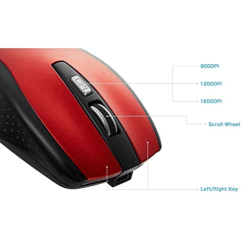 Tonor® Rechargeable Bluetooth Wireless Mouse For PC Mac Tablet Laptop Red
