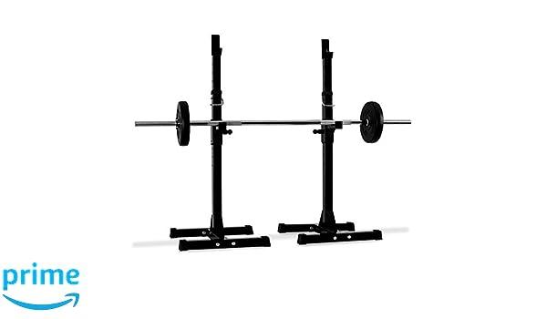 Klarfit Soporte de Pesas para Barras y curlers (2 estantes, Altura Ajustable, Cierre rápido, Carga máxima 100 kg, fácil de Guardar, Patas Antideslizantes): ...