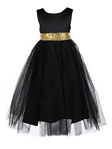Satin Tie Waist Dress - Tutu Dreams Little Girls Pageant Dresses Princess Gown Ball Dress with Sequin Waist Tie for 3-4T (Black, 3-4 Years)
