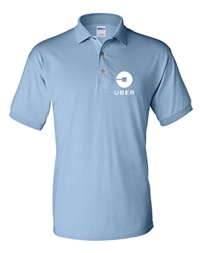 Uber Driver New Logo Men's Gildan Jersey Sport Polo T Shirt   Light Blue