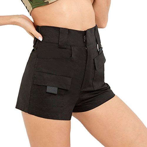 Donne Vita Nero Alta Pantaloncini Moda a Sottile Shorts Estivo Casual Pantaloni Freestyle BxwnUO7qdq