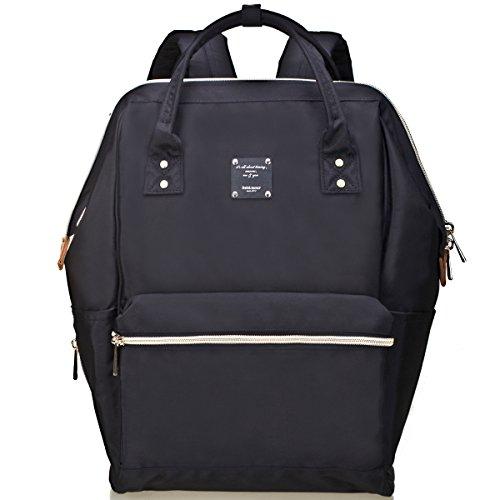 Bebamour Unisex bolsa cambiante con cambiador de pañales Mat Multi-funcional mochila para hombres y mujeres, negro negro