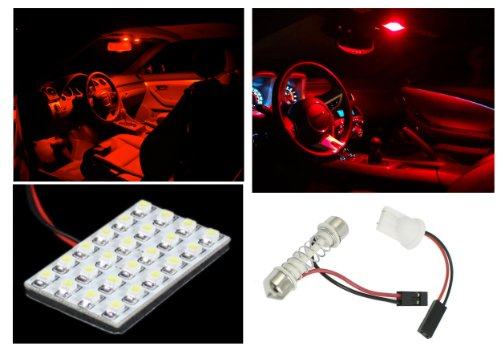 - IG Tuning 24 LED Panel Plasma Red 3258-SMD Chip T10 Festoon Connector/Adapter, 12V Dome Car Interior Bulb Lamp
