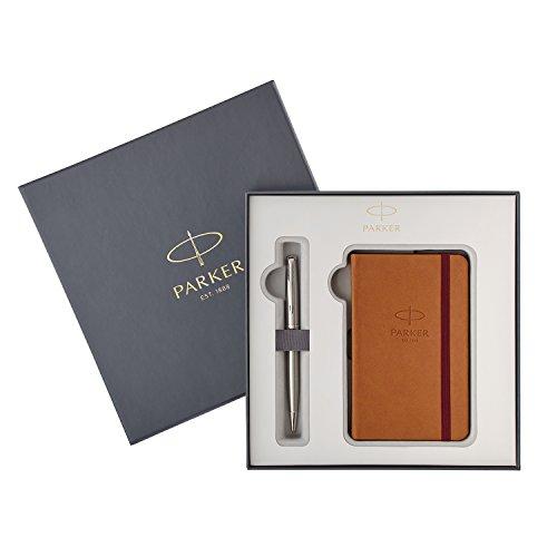 Parker Sonnet Stainless Steel Ballpoint Pen + Notebook Set