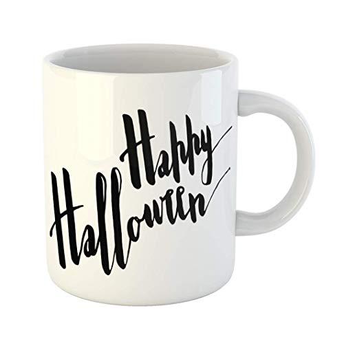 Fabri.YWL 11 OZ Coffee Mug Autumn Happy Hallowwen Positive Greeting Phrase Your Projects of Halloween Black Brush White Ceramic Glossy Tea Cup,Motivational Mug,Fun Mugs,Funny Gift ()