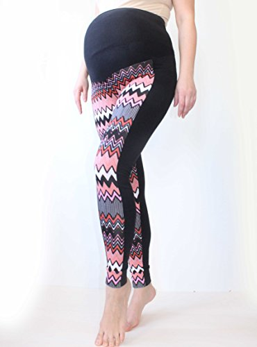 Maternity Zig Zag Leggings Über Bump, Bunte gedruckte Leggings, No See Through Maternity Leggings, Chevron Print, Schwangerschaft Yoga Wear