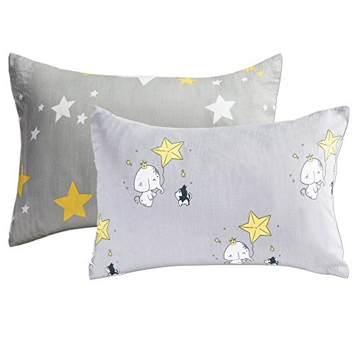 Kachabros Kids Toddler Pillowcases 2 Pack 100% Cotton Pillow Cover Cases 13'' x 18 for Kids Bedding Gray Elephant and Yellow Stars