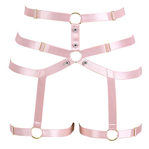 CAGBRRO Women's Harness Gothic Leg Strappy Lingerie Body Harness Garter Belt Plus Size Elastic Adjustable Black (Pink)]()