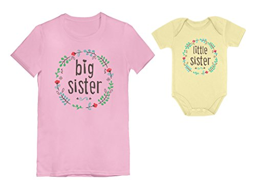 Big Sisters and Little Sisters Sibling Set Girls Shirts Gift for Daughters Set Toddler/Kids Girls' Fitted T-Shirt Pink 3T / Baby Bodysuit Yellow 12M (6-12M)