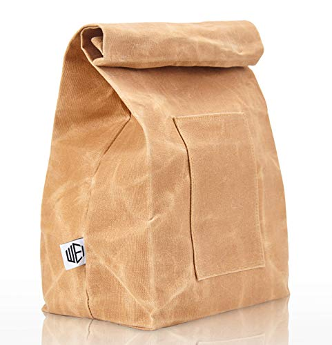 WEI CLASSIC Waxed Canvas Lunch Bag, Waterproof, Durable, Eco Friendly, Large Size Brown Paper Bag Styled, Lunch Box for Men, Women & Kids ()