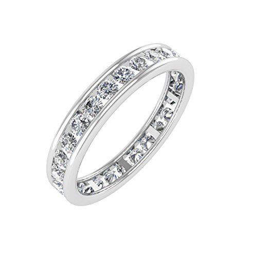 14k White Gold Channel Set Diamond Eternity Wedding/anniversary Band Ring (0.95 Carat)