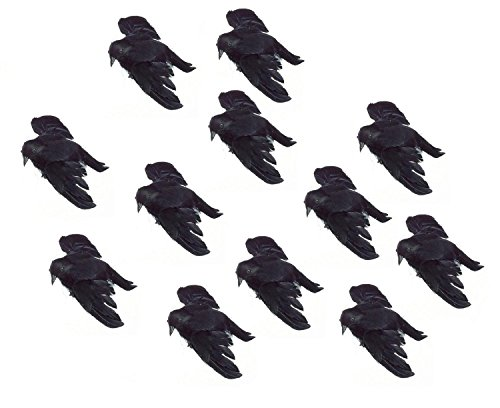Darice DIY Crafts Feathered Bird Crow Black Flying 4-3/4 inches (12-Pack)]()