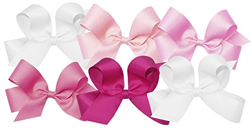 Wee Ones Girls' Large Bow 6 pc Set Solid Grosgrain Variety Pack on a WeeStay Clip - White, Light Pink, Pearl, Hot Pink, Shocking Pink ()