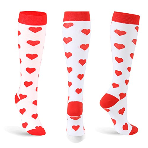 Graduated-Compression-Socks-for-Women-Men-20-30-mmHg-Moderate-Compression-Stockings-For-Running-Crossfit-Travel-Suits-Nurse-Maternity-Pregnancy-Heart-Stripe4-Pairs-SM