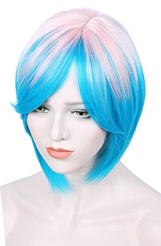 Linfairy Short Ombre Halloween Wigs For Women Pink+Blue