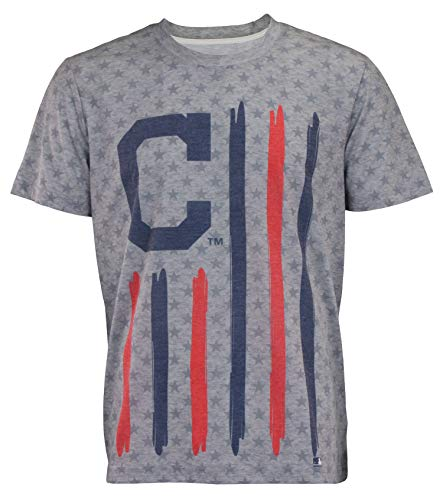 Fan Series Indians Cleveland - MLB Men's Big Logo Flag Tee, Cleveland Indians X-Large