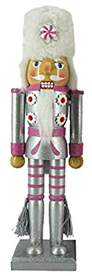 Christmas Holiday Wooden Nutcracker Figure Soldier with Metallic Silver & Pink Uniform Jacket, Faux Fur Hat with Peppermint Candy, Silver Tassels with Sparkle Rhinestone Detail, Large, 12 in