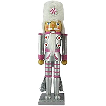 Christmas Holiday Wooden Nutcracker Figure Soldier with Metallic Silver & Pink Uniform Jacket, Faux Fur Hat with Peppermint Candy, & Silver Tassels with Sparkle Rhinestone Detail, Large, 12 in