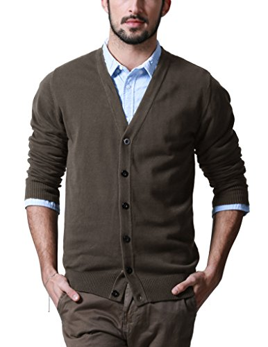 Match Men's Sweater Series V-Neck Button Up Cardigan #Z1522(US XL (Tag size 3XL),Z1522 Taupe)