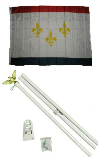 ALBATROS 3 ft x 5 ft City of New Orleans Louisiana Flag White with Pole Kit Set for Home and Parades, Official Party, All Weather Indoors Outdoors ()
