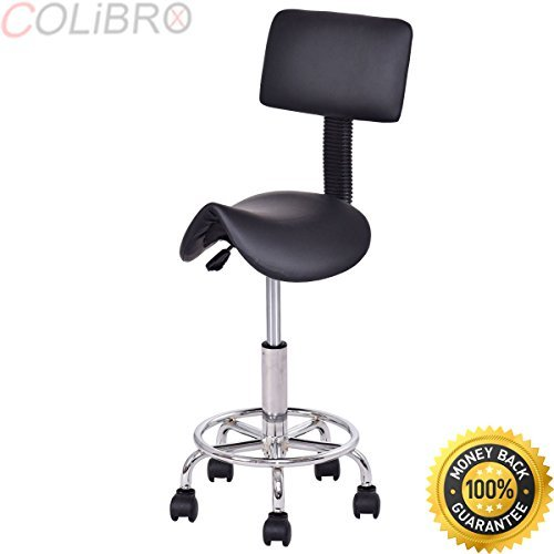 COLIBROX–Adjustable Saddle Salon Stool Rolling Massage Chair Tattoo Facial Spa w/Backrest. cutting stool for hairdressers.best salon stool chair amazon.salon stool for sale.best massage salon chair.