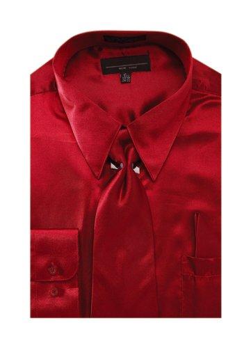 Men's Solid Color Satin Dress Shirt Tie and Hanky Set - Burgundy 17.5 36-37