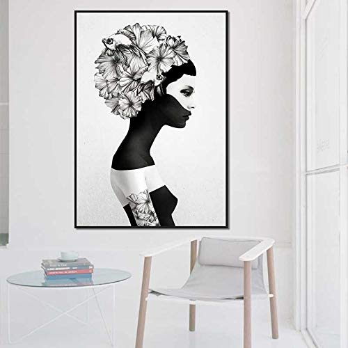 TLLZSH Decorative Painting Modern Style Black Masked Woman