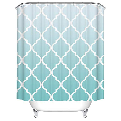 (RS-pthrA2!!! Bath Decor Shower Curtain Gradient Ramp White to Tiffany Blue with White Thick Line Pattern Waterproof Polyester Fabric Bathroom Curtain with Hooks and Three Size can be Choose)
