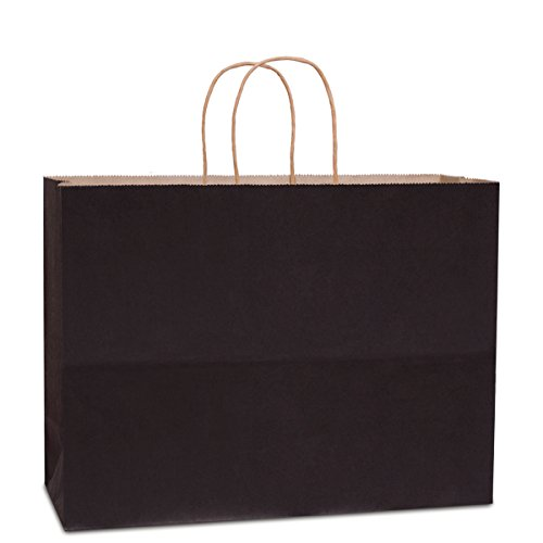BagDream 16x6x12''- 50pcs Black Kraft Paper Bags with Rope Handles for Shopping, Grocery, Mechandise, Party, Gift Bags, Large Size 100% Recyclable Paper Bags by BagDream