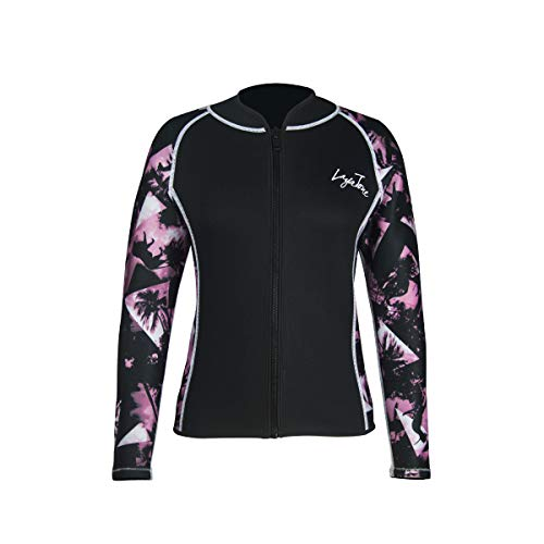 Layatone Wetsuit Top Women Men Premium 3mm Neoprene Diving Suit Jacket for Women - Wetsuit Jacket Long Neoprene -Sleeves Diving Surfing Snorkeling Top - Wet Suit Top (Pink-Neoprene Sleeve, ()