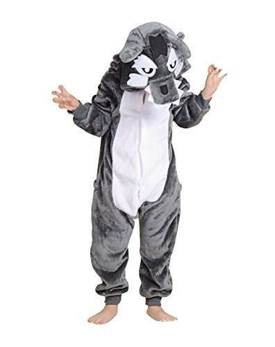 (Children's Halloween Cosplay Wolf Animal Pajamas Animal Onesie sleepwear (L)