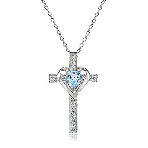 - Sterling Silver Blue Topaz and White Topaz Heart in Cross Necklace for Women Girls