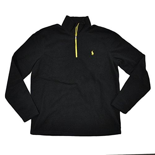 Polo Ralph Lauren Mock Neck 1/4 Zip Fleece Pullover (Black, - 1/4 Zip Neck Fleece Mock
