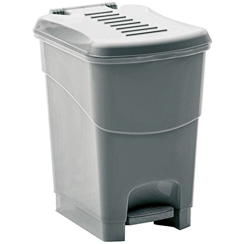 Kis Abfallbehälter Koral 6 Liter in Silber, Plastik, 19x24x28 cm