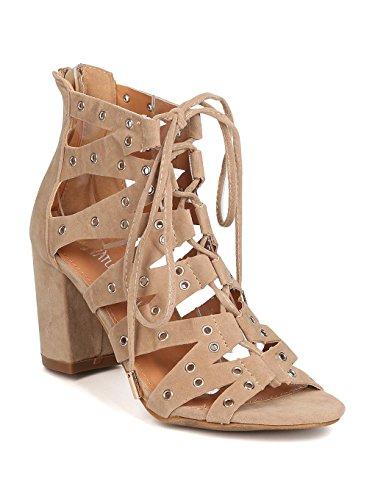 Heart.thentic Women Faux Suede Peep Toe Lace up Grommet Chunky Heel Sandal GC33 - Beige (Size: 6.5)