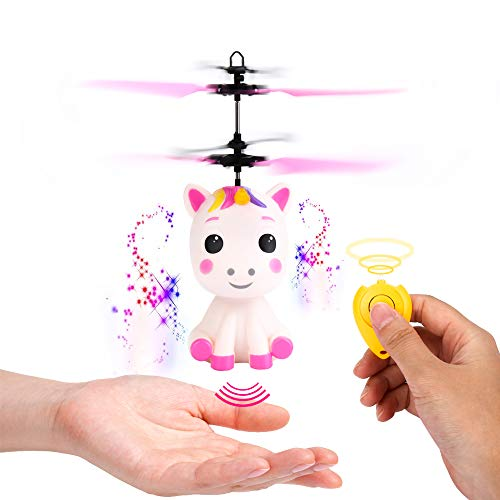 Flying Unicorn Toys Flying Fairy Toys for Girls Flying Ball RC Helicopter with Remote Control Hand Controlled Horse Unicorn Birthday for 3 4 5 6 7 8 9 Year Old ()