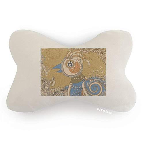 (DIYthinker Flower Golden Pheasant Ukiyo-e Leaves Car Neck Pillow Headrest Support Cushion Pad)