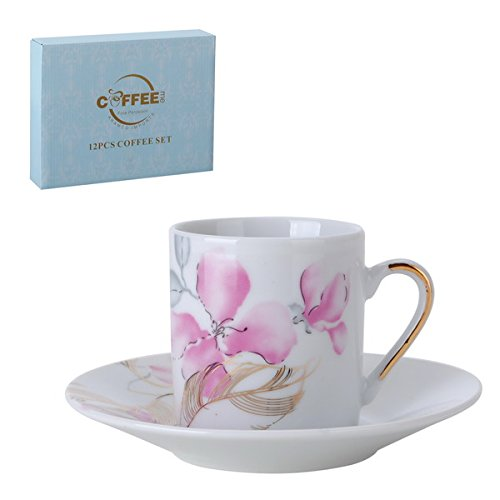 Porcelain Bone China Espresso Turkish Coffee Demitasse Set of 6 Delicate Floral Pattern Cups and Saucers (Pink Orchids) (Delicate Orchid)
