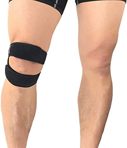 VITTO - Rodillera con correa para la rodilla y el tendón - Rodillera de alta calidad   Correas ajustables   Ayuda a correr, tendinitis y dolor de artritis (mediano, negro)