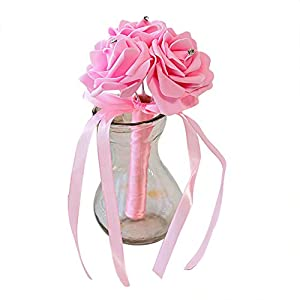 Dds5391 New 3 Heads Artificial Rose Flower Bridal Wedding Bouquet Party Banquet Home Decor - Tiffany Blue 38