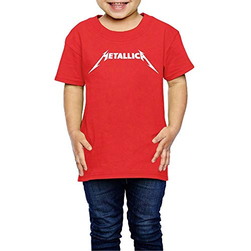 Baby Metallica Fashion Short Sleeve Top Shirts Boys Girls Casual Style Shirts 4 Toddler Red