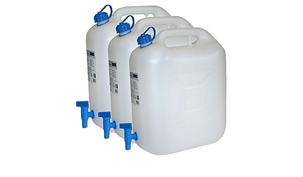 Bidones de Agua, Eco, 20 L, con grifo, Juego de 3, para camping, tanque de agua