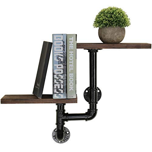 (MyGift 2-Shelf Industrial Style Pipe & Rustic Dark Brown Wall Mounted Shelving Unit)