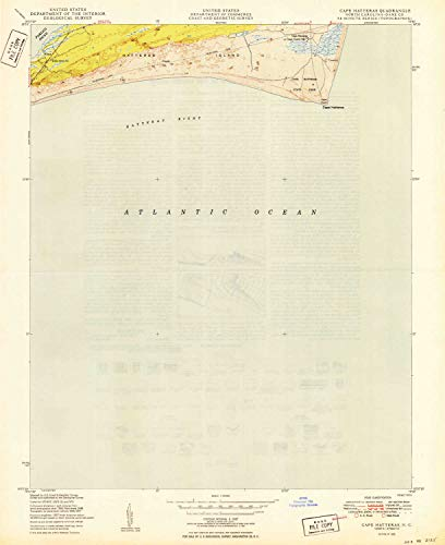 (YellowMaps Cape Hatteras NC topo map, 1:24000 Scale, 7.5 X 7.5 Minute, Historical, 1950, 26.7 x 21.8 in - Tyvek)